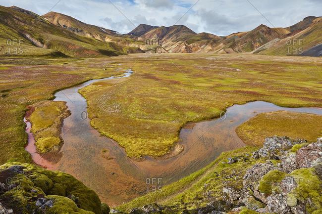River through mountain valley, Iceland