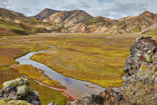 River through a mountain valley, Iceland