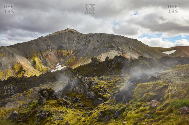 Geothermal steam in Iceland mountains