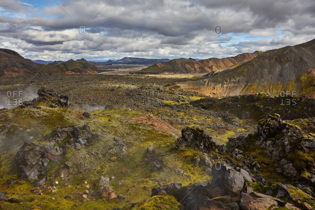 Geothermal steam in Icelandic mountains