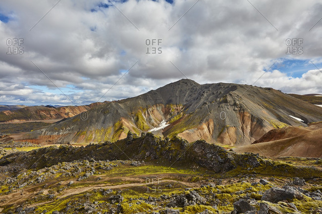 Vast volcanic mountain setting, Iceland