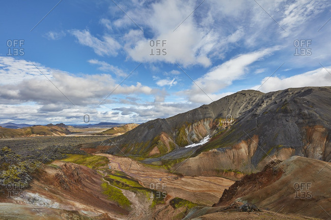 Vast volcanic mountain range in Iceland