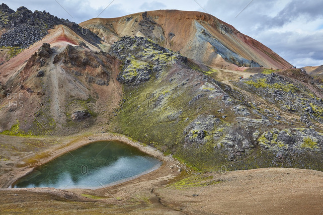Pond in a mountain setting, Iceland