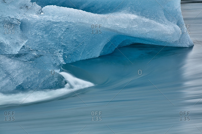Waves against ice formation, Iceland