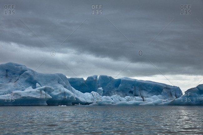 Glacial formations along lagoon, Iceland