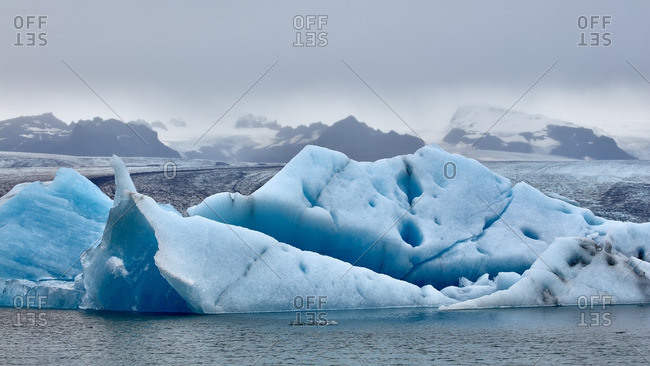 Glacial formations on lagoon shore, Iceland