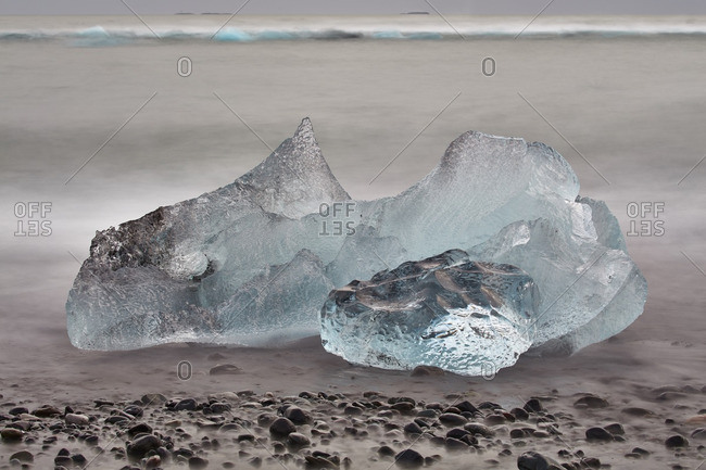 Chunk of ice on beach in Iceland
