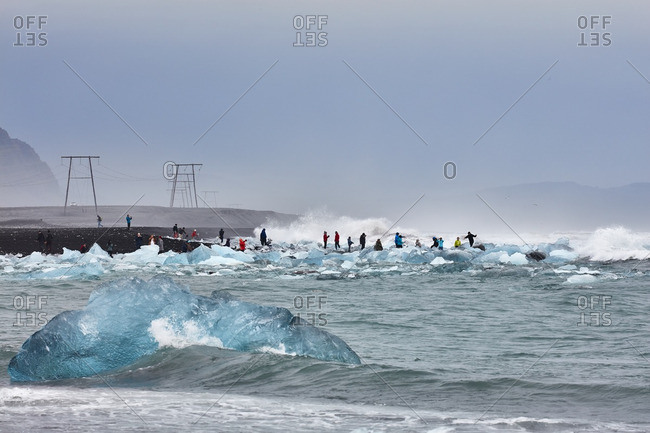 Vatnajokull, Iceland - September 10, 2016: Crowds by glacial lagoon