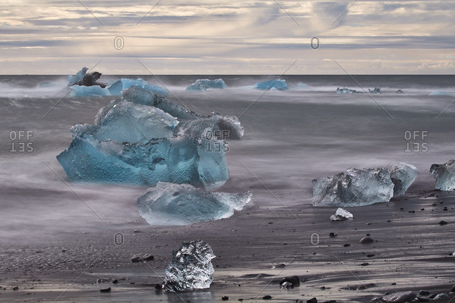 Chunks of ice on beach in Iceland