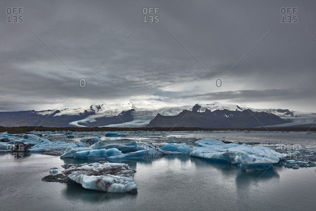 Mountains and glacial lagoon, Iceland