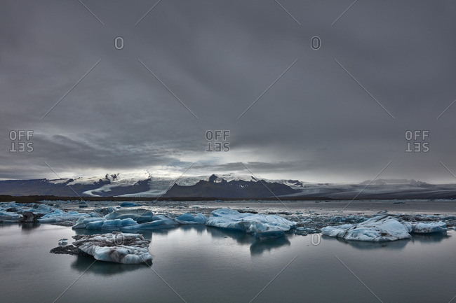 Mountains and a glacial lagoon, Iceland