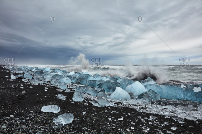Waves splashing on glacial shore