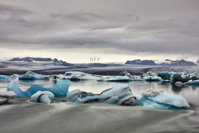 Glacial formations along lake shore, Iceland