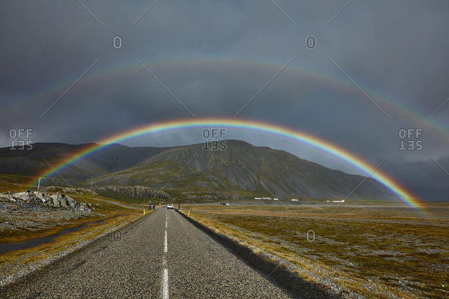 Double rainbow over rural Iceland