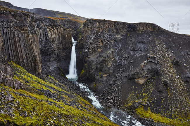 Litlandesfoss waterfall in rural Iceland