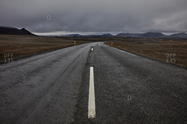 Rural highway in Icelandic prairie setting