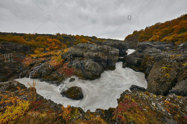 Water flowing through autumnal Iceland