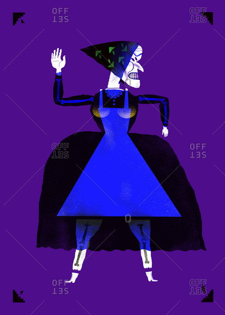 Witch wearing a dress and head scarf with her arm raised