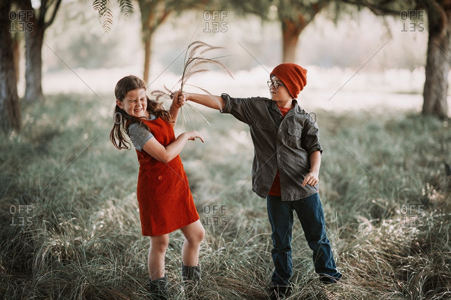 Young boy teases his sister with grass fronds in woods