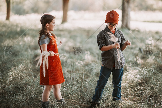 Boy and girl picking long grass fronds in woods