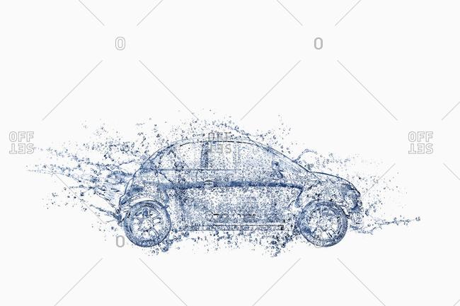Splashing water droplets surrounding car