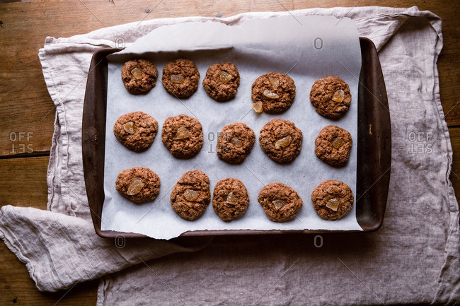 Vegan ginger molasses cookies on baking sheet