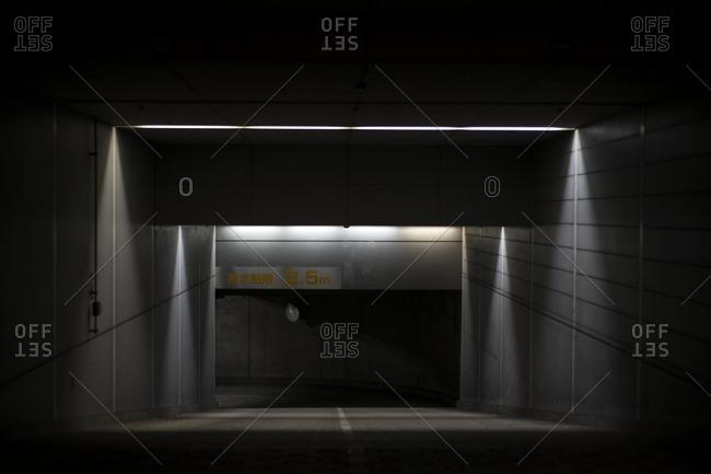 Tokyo, Japan - January 7, 2015: Underground parking entrance in Ginza, Tokyo, Japan