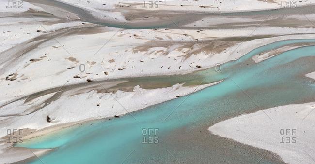 Tagliamento River, bird\'s eye view, Monte Prat, Friuli Venezia Giulia, Italy