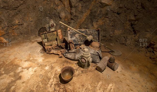 German world war memorabilia on display in the underground bunker of Duino Castle in Trieste, Trieste, Italy