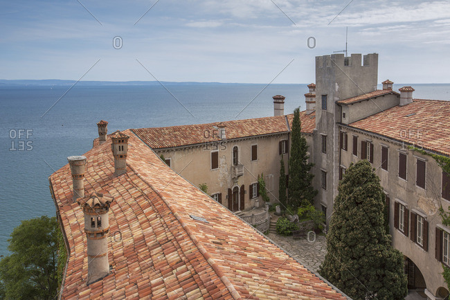 Duino Castle photographed by the sixteenth-century tower, Trieste, Friuli-Venezia Giulia, Italy