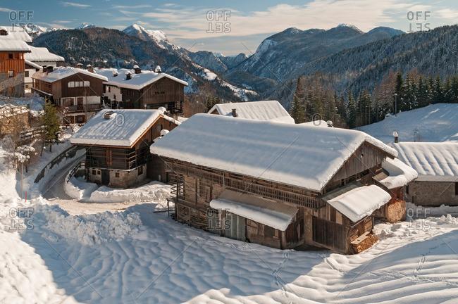 The village of Sauris di Sopra right after a snowfall, Sauris di Sotto, Friuli-Venezia Giulia, Carnia, Europe, Italy