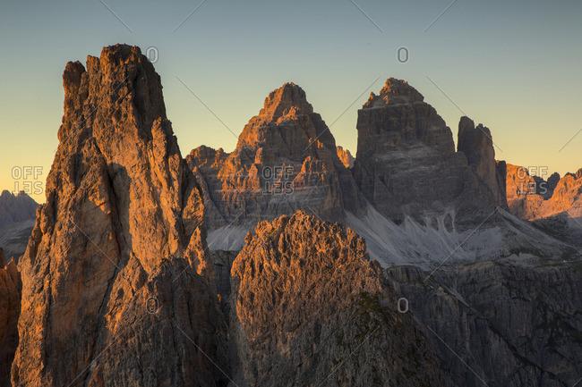 Cadini of Misurina and Tre Cime of Lavaredo at sunset, Belluno, Veneto, Italy
