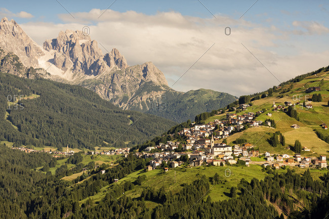 The valley of Comelico and in the background the dolomites of Sesto (Popera), Unesco World Heritege, Cadore, Veneto, Europe, Italy