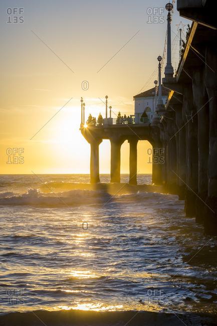 Manhattan Beach pier and oceanfront at sunset
