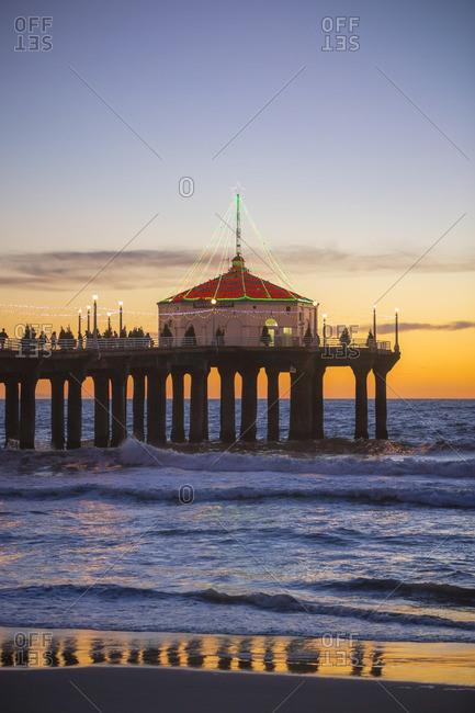Los Angeles, United States - November 21, 2014: Manhattan beach pier lit up for Christmas