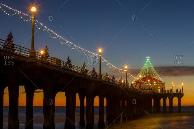 Los Angeles, United States - November 21, 2014: Manhattan beach pier decorated with lights for Christmas