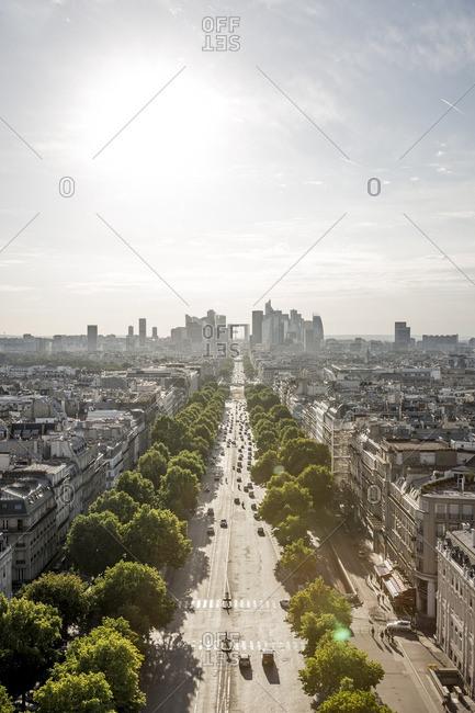 Paris, France - June 28, 2015: Aerial cityscape along the Champs-Elysees