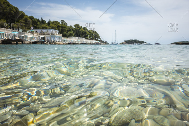 Ripples in clear sea water off the coast of Hvar Island, Croatia