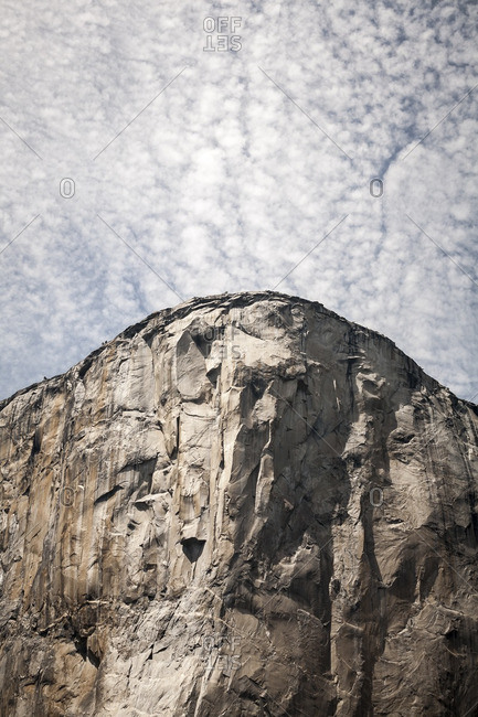 El Capitan rock formation and blue sky in Yosemite National Park