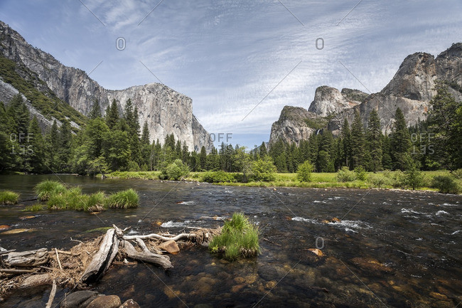 Shallow river in a mountain valley in Yosemite National Park