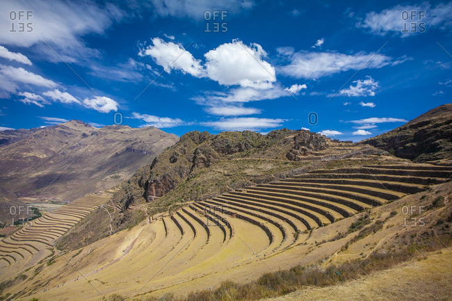 Terraced farmland on a mountain slope in the Sacred Valley, Peru