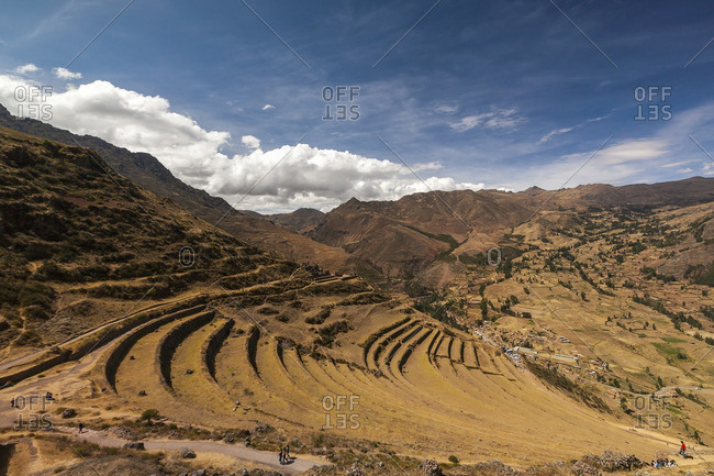 Mountain slope with terraces in the Sacred Valley, Peru