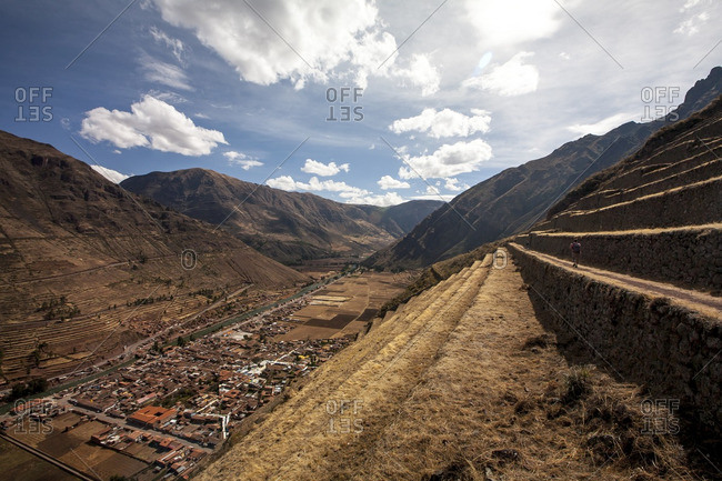 Terraced farmland on a mountainside overlooking the Sacred Valley, Peru