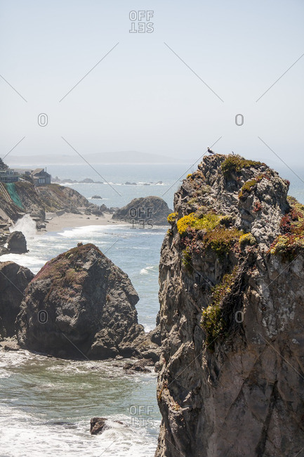 Rock formations in the ocean along the California coast
