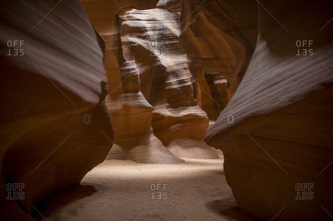 Smooth sandstone walls of Upper Antelope Canyon in Arizona