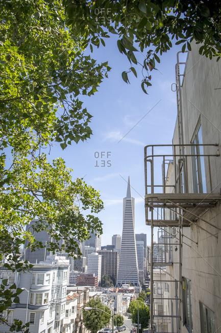Famous skyscraper and fire escape in San Francisco