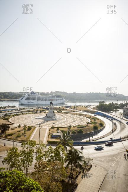 Havana, Cuba - May 2, 2016: Cruise ship entering the harbor near the Monumento Maximo Gomez