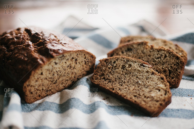 Close up of homemade banana bread on a table