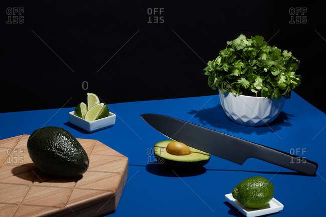 Avocados and other ingredients to make guacamole