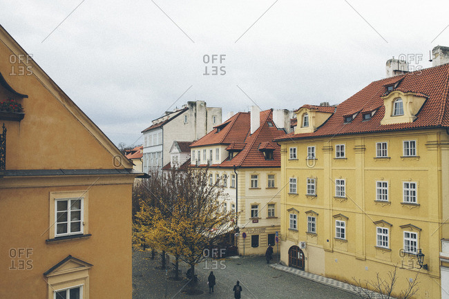 Europe - November 24, 2013: Traditional buildings with tile rooftops